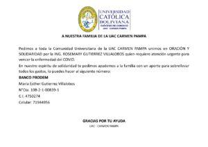 ¡Un llamado a nuestra familia de la UAC-Carmen Pampa